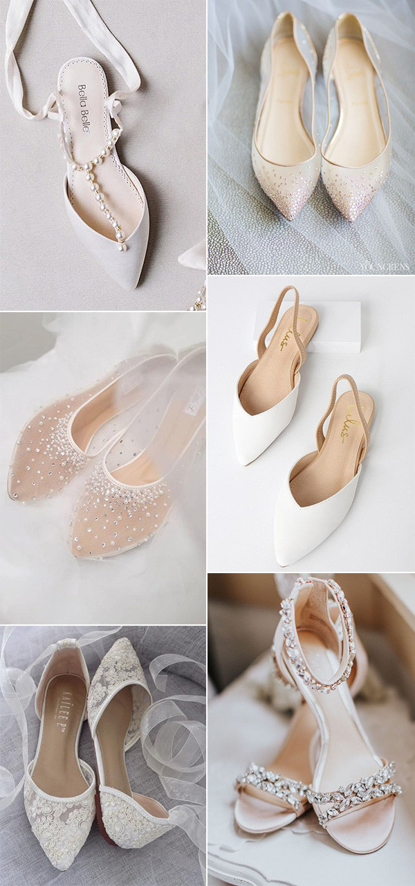 trending nude flat wedding shoes