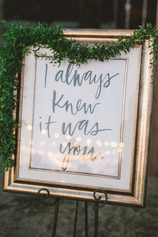 vintage framed wedding sign ideas with greenery