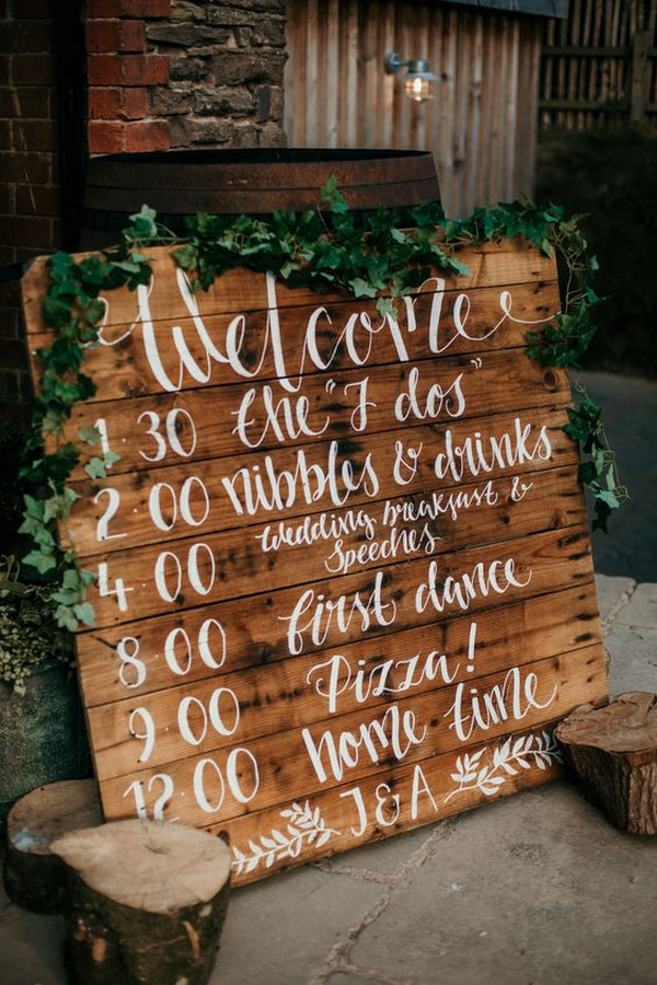 wooden palette boho chic wedding sign
