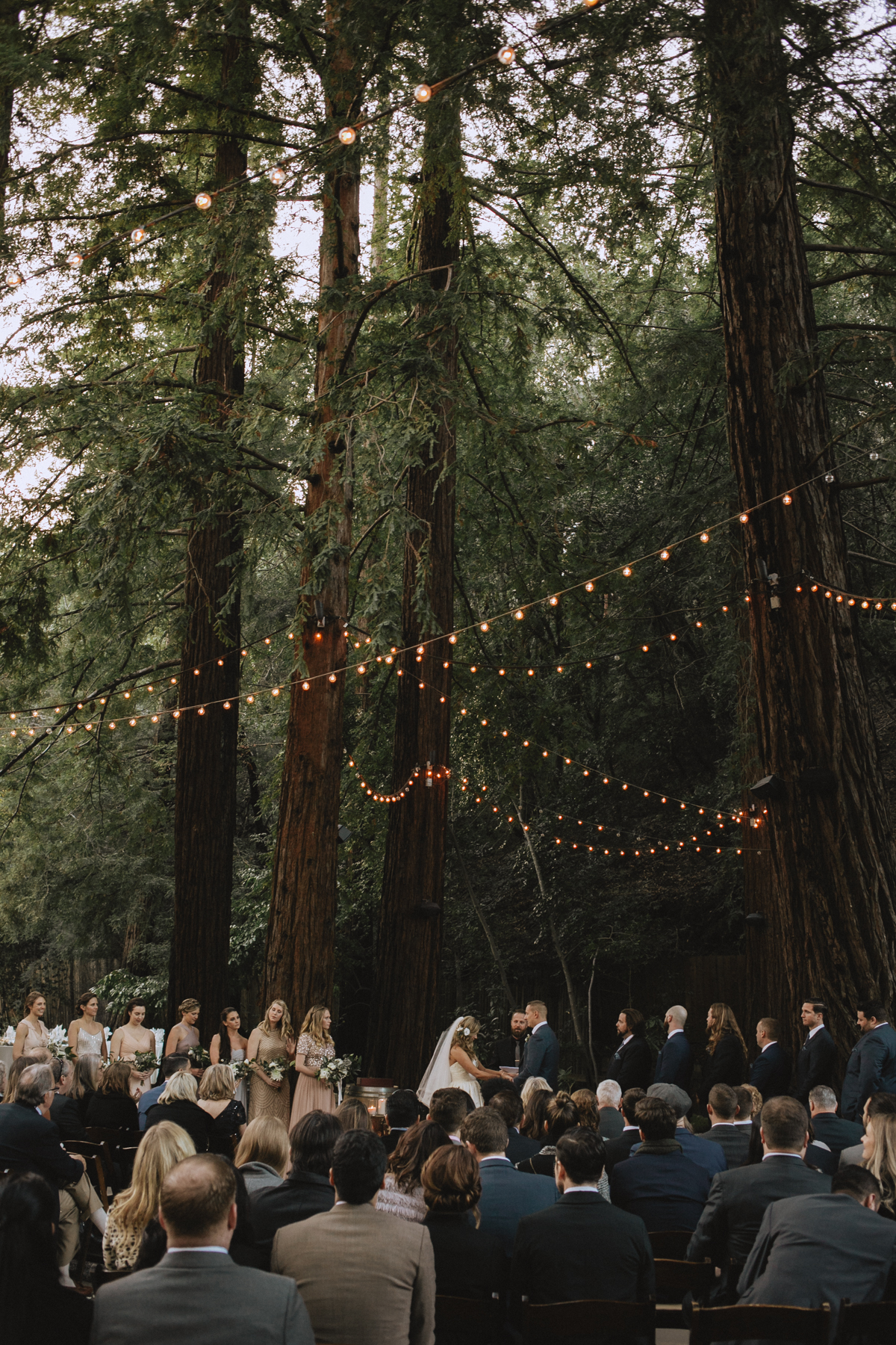 woodland forest wedding ceremony with string lights