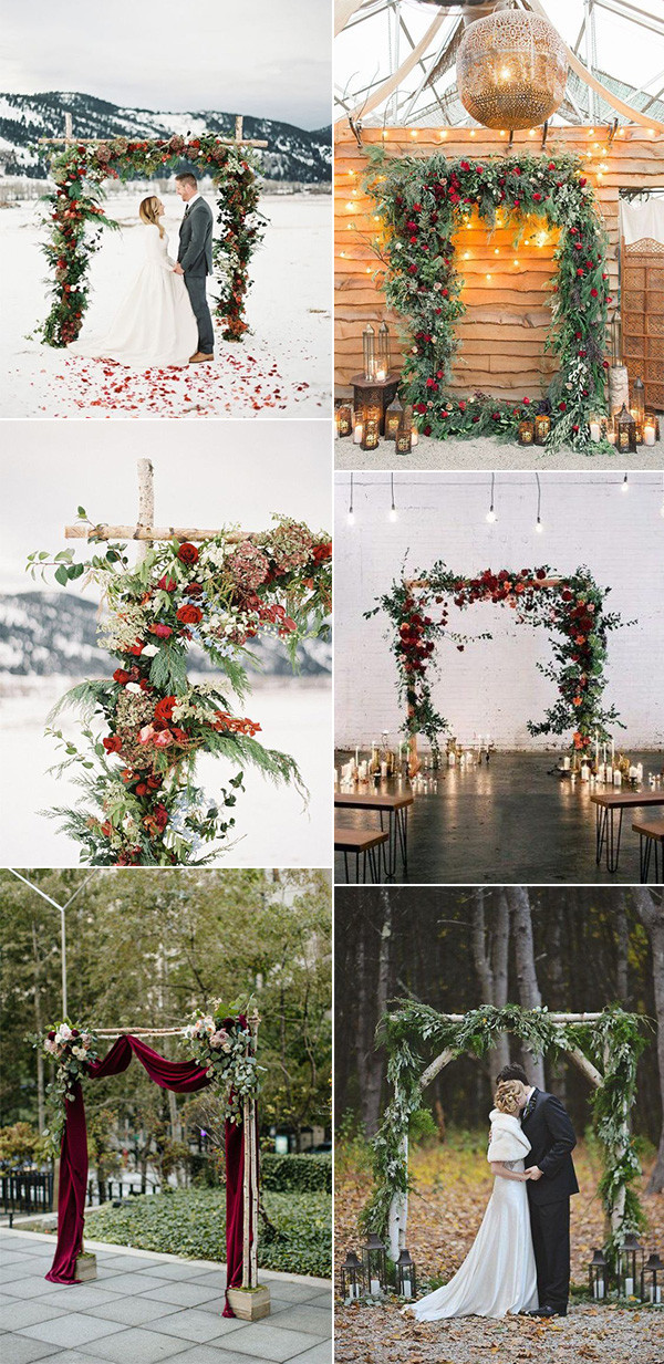 Christmas themed red and green winter wedding arches