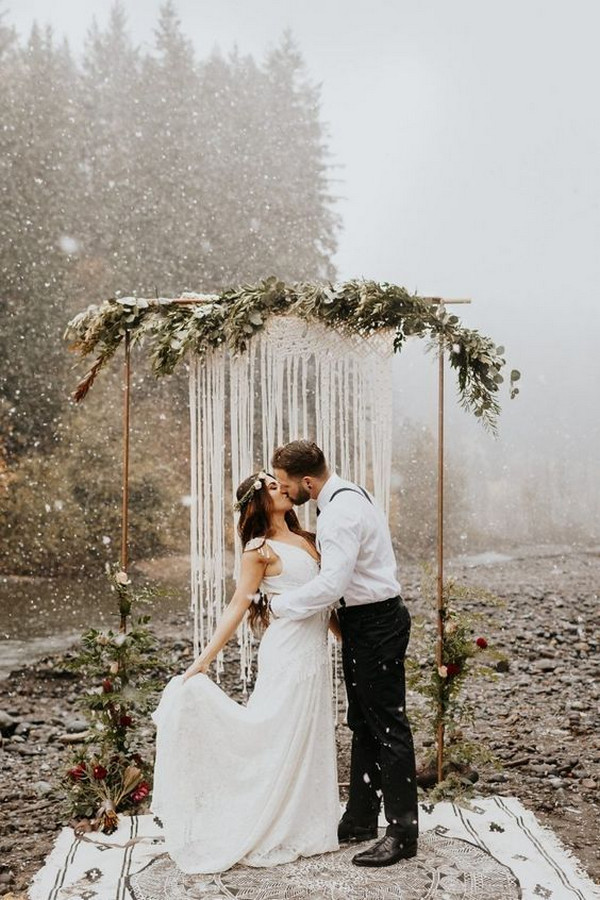 Ethereal boho winter wedding arch ideas
