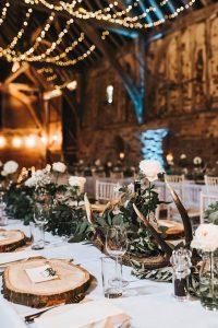 Rustic Barn Wedding Reception with Wood Slices