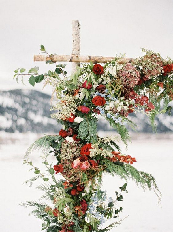 Winter Christmas Themed Wedding Floral Ceremony Arch