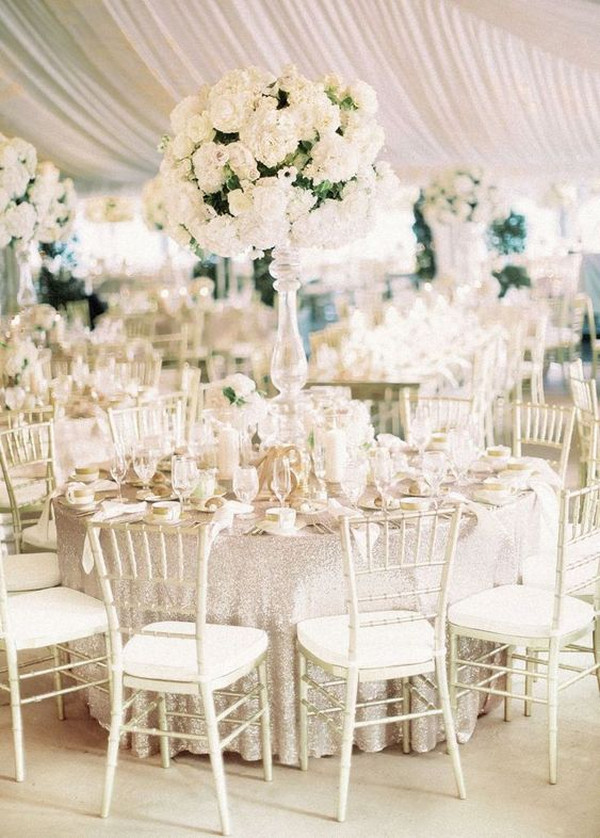 all white classic wedding reception ideas
