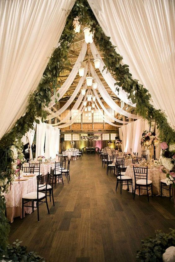 barn wedding reception ideas with drapery