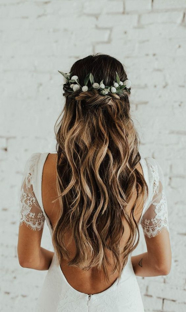 boho chic half up half down wedding hairstyle