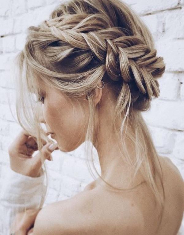 braided boho updo wedding hairstyle