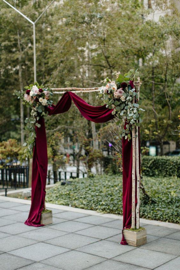 burgundy and greenery rustic wedding arch ideas