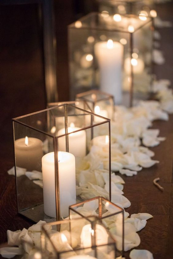 candles and flowers romantic wedding aisle decoration ideas