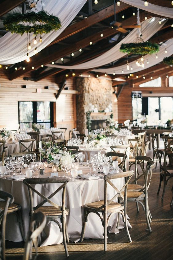 chic barn wedding reception ideas with string lights