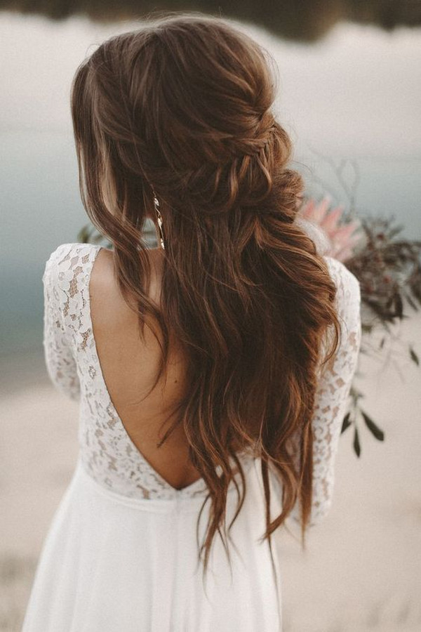 chic boho wedding hairstyle half up half down