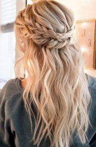 chic braided half up half down wedding hairstyle