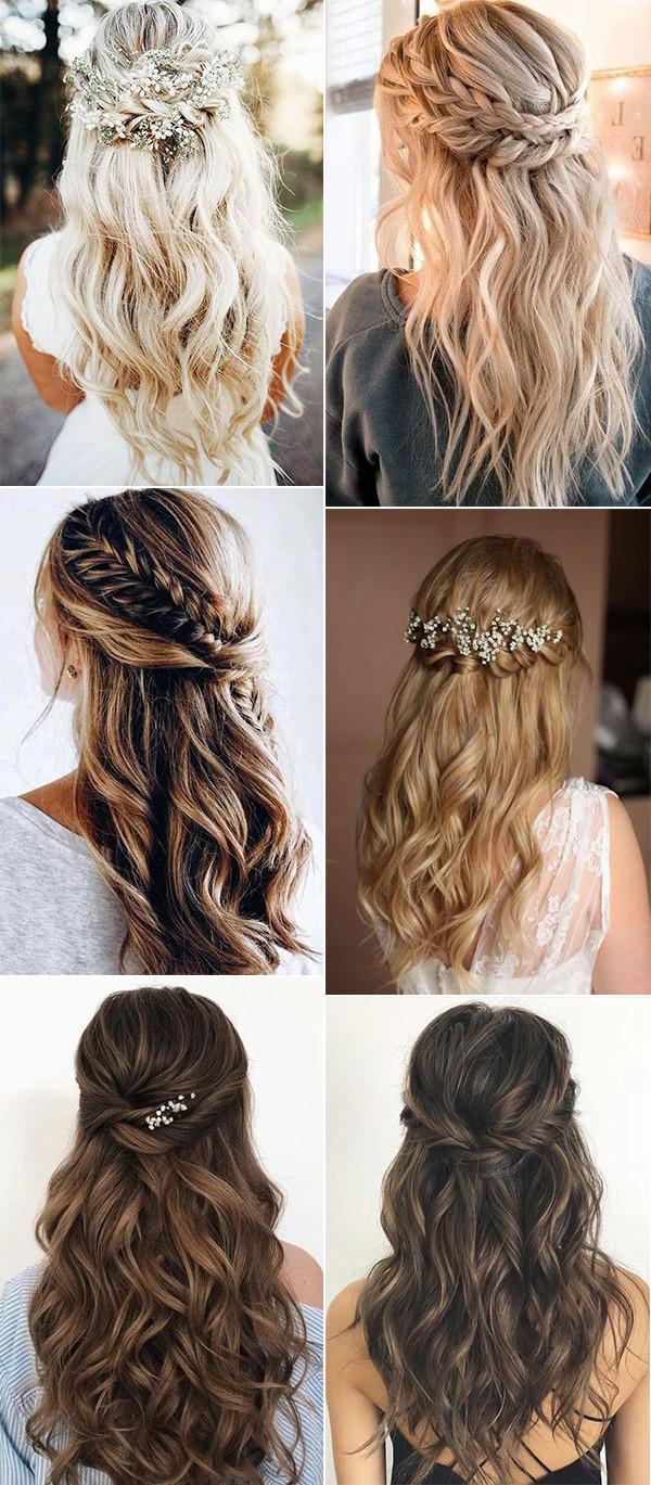 chic half up half down boho wedding hairstyles