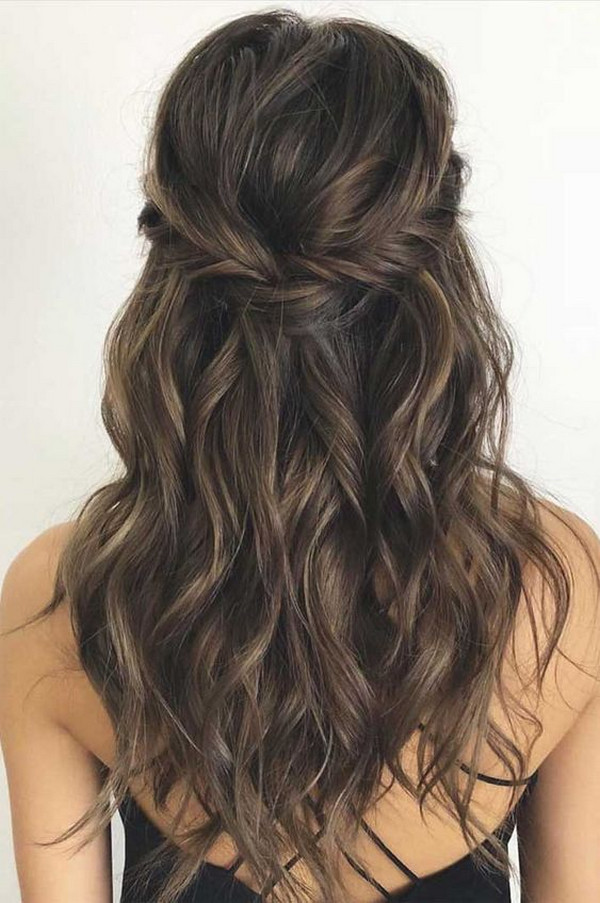 chic half up half down wedding hairstyle