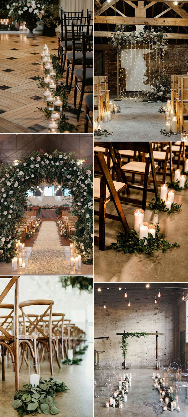chic indoor wedding aisle decoration ideas