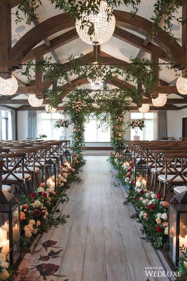 chic indoor wedding ceremony ideas with candles and floral