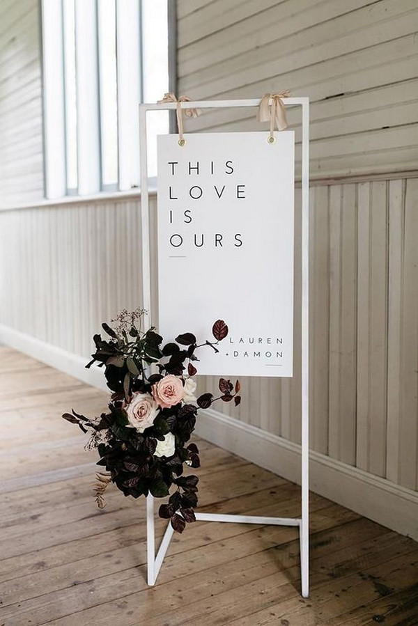 chic minimalist wedding sign
