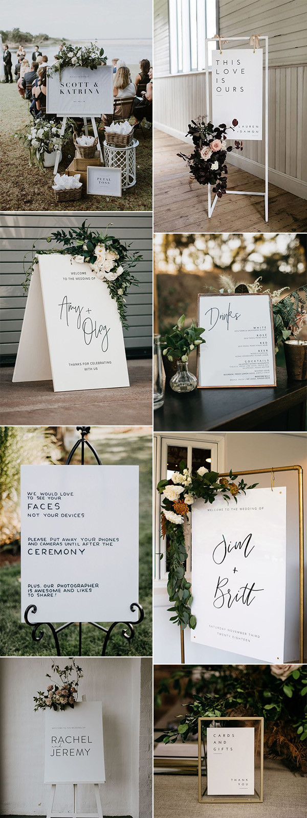 chic simple wedding signs