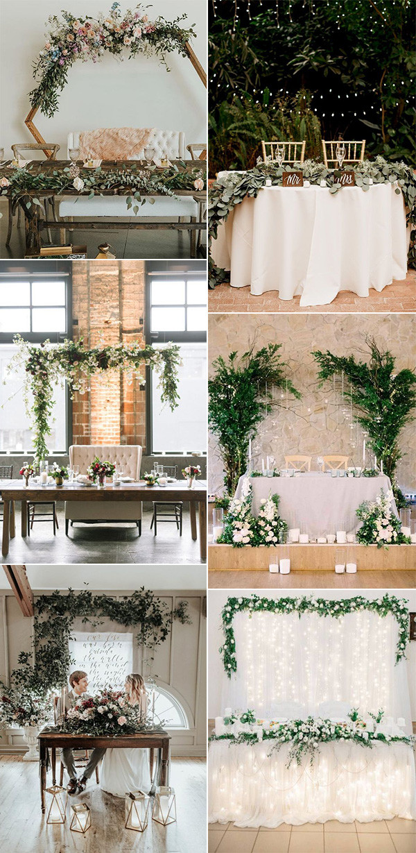 chic wedding head table decoration and backdrop ideas