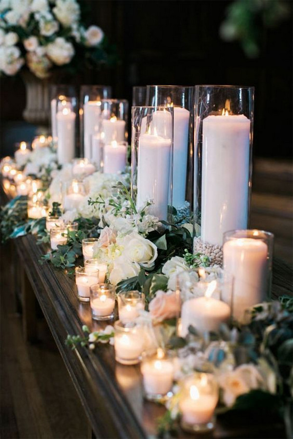 classic elegant wedding table decoration ideas with candles