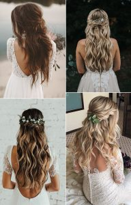 half up half down boho chic wedding hairstyles