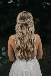 half up half down boho wedding hairstyle