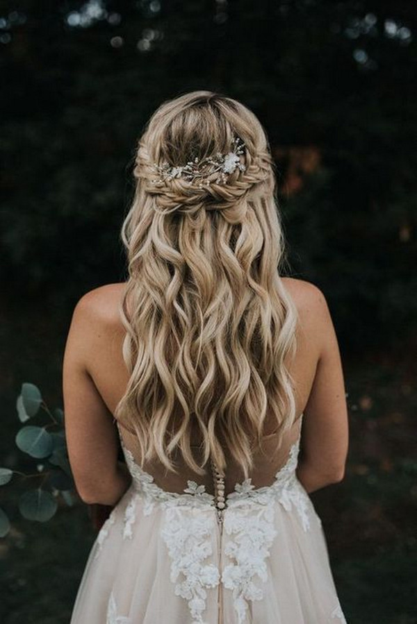half up half down boho wedding hairstyle