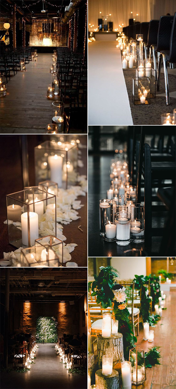 indoor wedding aisle decoraiton ideas with candles