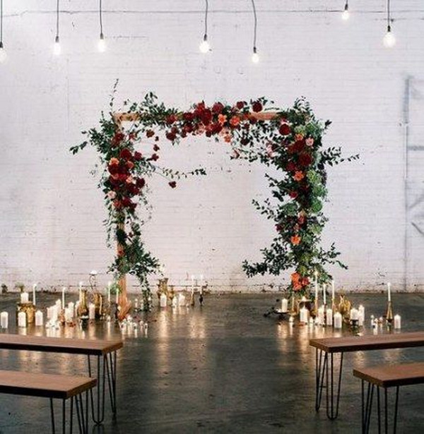 indoor wedding arch ideas with candles