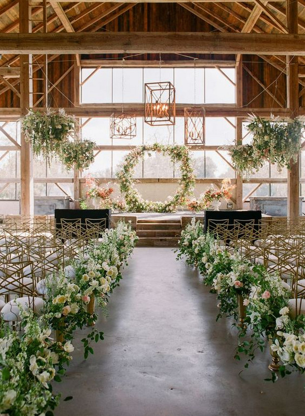 indoor wedding ceremony ideas with floral arrangement