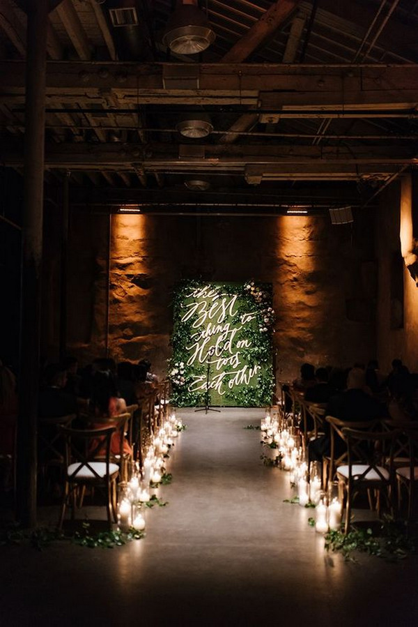 industrial wedding altar and aisle decoration ideas