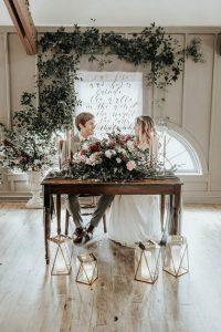 industrial wedding sweetheart table decoration ideas