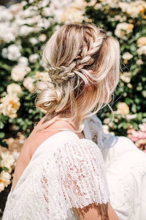 messy boho updo wedding hairstyle