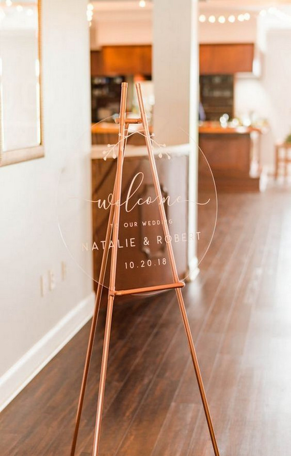 minimalist acrylic wedding sign