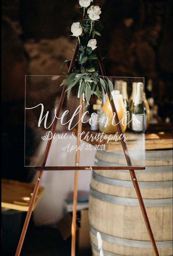 minimalist acrylic wedding welcome sign