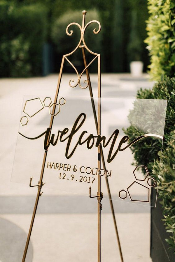 modern chic acrylic wedding welcome sign