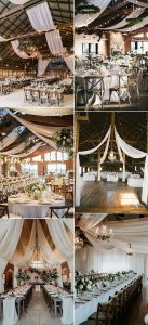 rustic barn wedding reception ideas with drapery