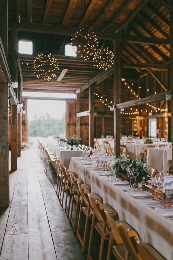 rustic barn wedding reception ideas with string lights