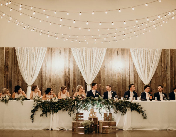 rustic chic wedding backdrop for head table