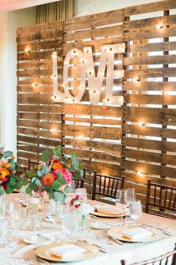 rustic chic wedding head table backdrop ideas