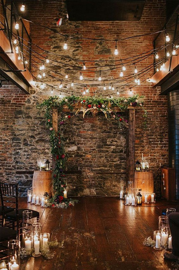 rustic cozy wedding ceremony decoration ideas