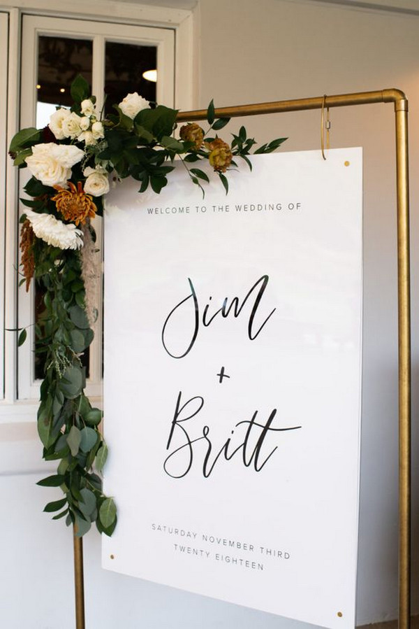simple and modern wedding ceremony sign