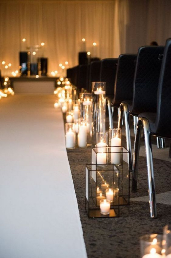 simple chic candles wedding aisle decoraiton ideas