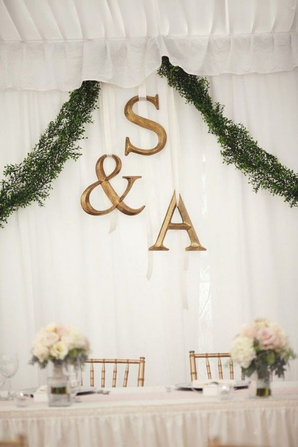 simple elegant wedding backdrop for head table