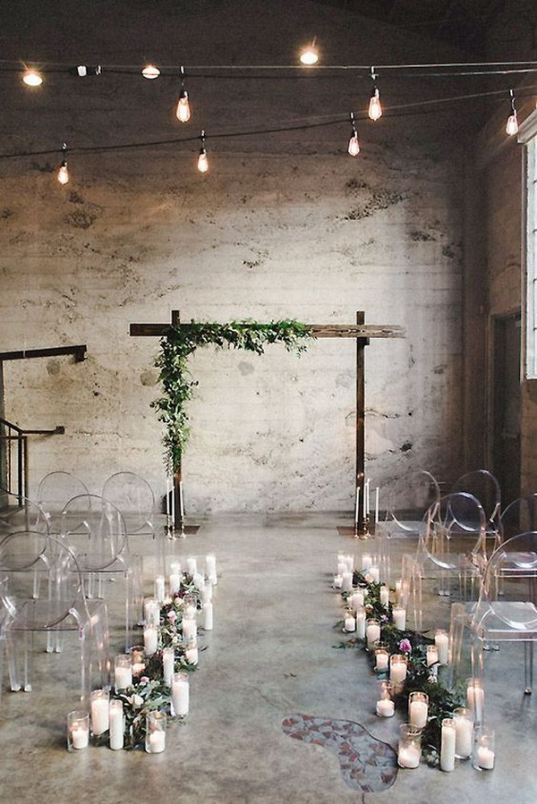 simple industrial wedding aisle ideas with candles