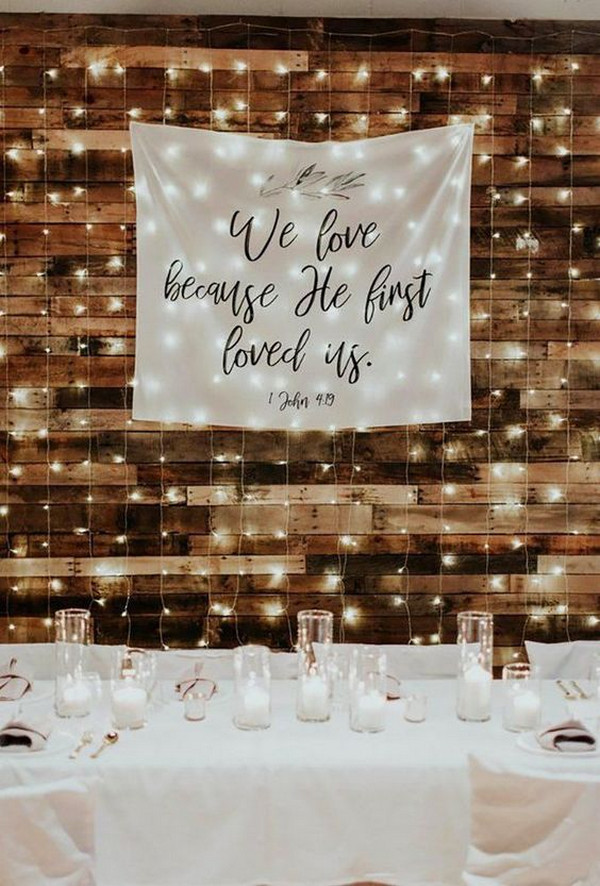 simple rustic wedding backdrop for reception with string lights