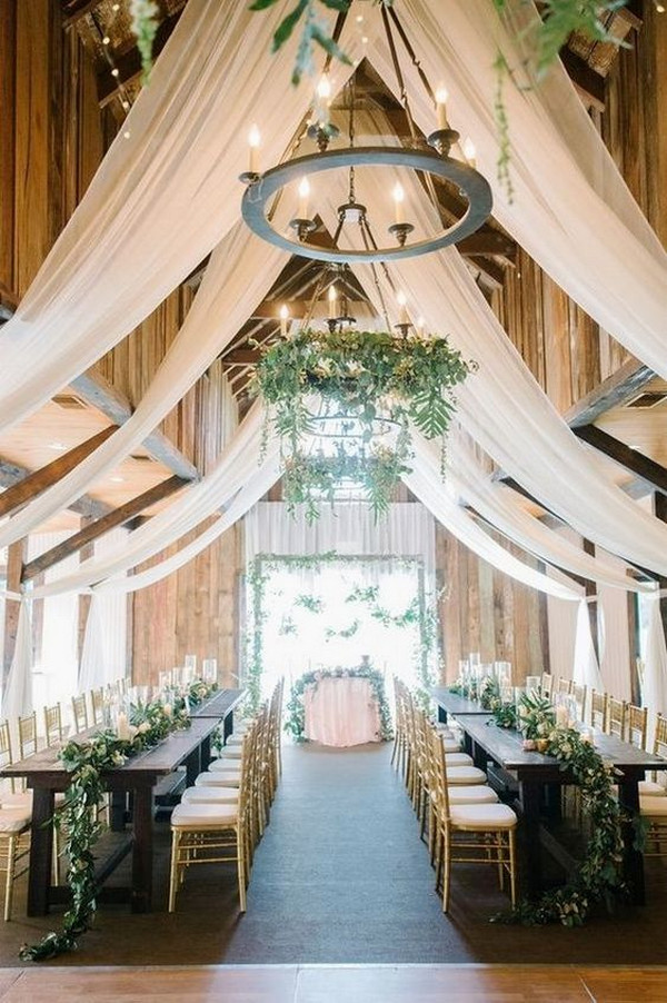 trending barn wedding reception ideas with ivory draping