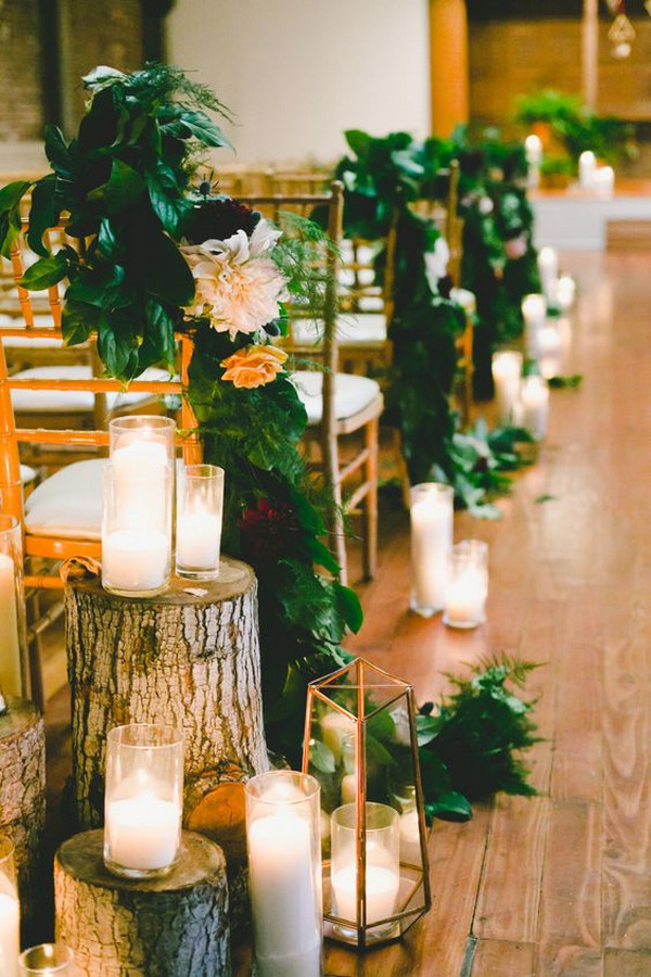 wedding aisle decoration ideas with geometric lanterns