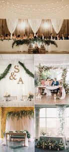 wedding backdorp ideas for head table with fabrics
